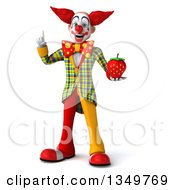Clipart Of A 3d Funky Clown Holding Up A Finger And A Strawberry Royalty Free Illustration