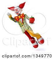 Clipart Of A 3d Funky Clown Holding A Strawberry And Flying Royalty Free Illustration