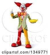Clipart Of A 3d Funky Clown Holding Up A Finger And A Banana Royalty Free Illustration