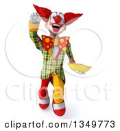 Clipart Of A 3d Funky Clown Holding A Banana And Flying Royalty Free Illustration