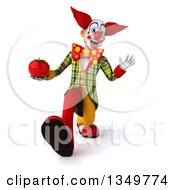 Clipart Of A 3d Funky Clown Holding A Tomato Speed Walking And Waving Royalty Free Illustration