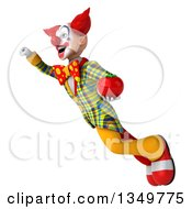 Clipart Of A 3d Funky Clown Holding A Tomato And Flying Royalty Free Illustration