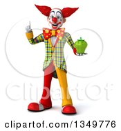 Clipart Of A 3d Funky Clown Holding Up A Finger And A Green Bell Pepper Royalty Free Illustration