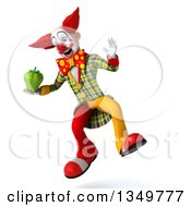 Clipart Of A 3d Funky Clown Jumping And Holding A Green Bell Pepper Royalty Free Illustration