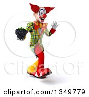Clipart Of A 3d Funky Clown Holding A Blackberry Walking And Waving To The Right Royalty Free Illustration