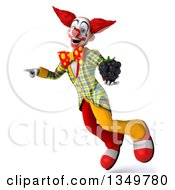 Clipart Of A 3d Funky Clown Holding A Blackberry Flying And Pointing Royalty Free Illustration