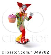 Clipart Of A 3d Funky Clown Holding A Cupcake Walking And Waving To The Right Royalty Free Illustration
