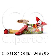Clipart Of A 3d Funky Clown Holding A Pizza And Resting On His Side Royalty Free Illustration