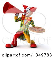 Clipart Of A 3d Funky Clown Holding A Pizza And Using A Megaphone Royalty Free Illustration