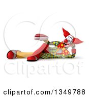 Clipart Of A 3d Funky Clown Holding A Beef Steak And Resting On His Side Royalty Free Illustration
