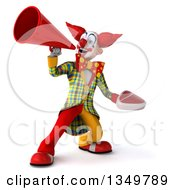 Clipart Of A 3d Funky Clown Holding A Beef Steak And Using A Megaphone Royalty Free Illustration