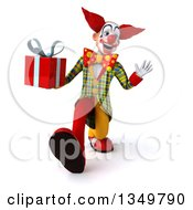 Clipart Of A 3d Funky Clown Holding A Gift And Walking Royalty Free Illustration