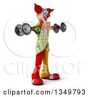 Clipart Of A 3d Funky Clown Facing Right Working Out Doing Lateral Raises With Dumbells Royalty Free Illustration