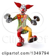 Clipart Of A 3d Funky Clown Working Out Dancing With Dumbells Royalty Free Illustration