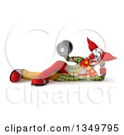 Clipart Of A 3d Funky Clown Resting On His Side Working Out Doing Bicep Curls With A Dumbell Royalty Free Illustration