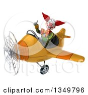 Clipart Of A 3d Funky Clown Aviator Pilot Giving A Thumb Up And Flying A Yellow Airplane To The Left Royalty Free Illustration