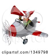 Clipart Of A 3d Funky Clown Aviator Pilot Using A Megaphone And Flying A White And Red Airplane To The Left Royalty Free Illustration