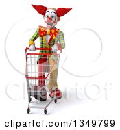 Clipart Of A 3d Funky Clown Walking With A Shopping Cart Royalty Free Illustration