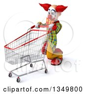 Clipart Of A 3d Funky Clown Collapsing With A Shopping Cart Royalty Free Illustration