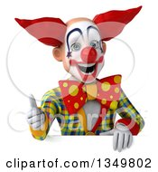 Clipart Of A 3d Funky Clown Giving A Thumb Up Over A Sign Royalty Free Illustration