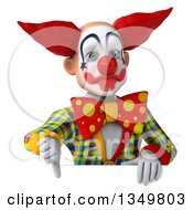 Clipart Of A 3d Funky Clown Giving A Thumb Down Over A Sign Royalty Free Illustration by Julos