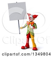 Clipart Of A 3d Funky Clown Holding And Pointing To A Blank Sign Royalty Free Illustration