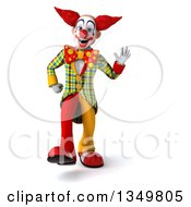 Clipart Of A 3d Funky Clown Walking And Waving Royalty Free Illustration by Julos
