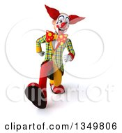 Clipart Of A 3d Funky Clown Speed Walking Royalty Free Illustration
