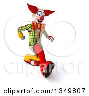 Clipart Of A 3d Funky Clown Speed Walking To The Right Royalty Free Illustration