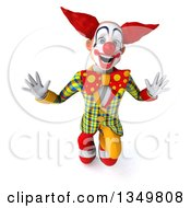 Clipart Of A 3d Funky Clown Looking Up And Jumping Royalty Free Illustration by Julos