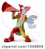 Clipart Of A 3d Funky Clown Holding A Euro Currency Symbol And Using A Megaphone Royalty Free Illustration