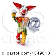 Clipart Of A 3d Funky Clown Holding An Email Arobase At Symbol And Flying Royalty Free Illustration by Julos