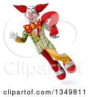 Clipart Of A 3d Funky Clown Holding A Question Mark And Flying Royalty Free Illustration