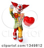 Clipart Of A 3d Funky Clown Holding A Heart And Flying Royalty Free Illustration