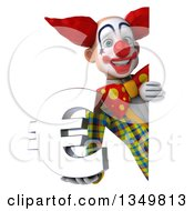 Clipart Of A 3d Funky Clown Holding A Euro Currency Symbol Around A Sign Royalty Free Illustration