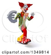 Clipart Of A 3d Funky Clown Holding A Euro Currency Symbol Waving And Walking To The Right Royalty Free Illustration