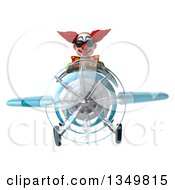 Clipart Of A 3d Funky Clown Aviator Pilot Wearing Sunglasses And Flying A Blue Airplane Royalty Free Illustration