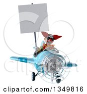 Clipart Of A 3d Funky Clown Aviator Pilot Wearing Sunglasses Holding A Blank Sign And Flying A Blue Airplane Royalty Free Illustration