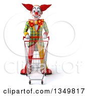 Clipart Of A 3d Funky Clown Standing With A Shopping Cart Royalty Free Illustration