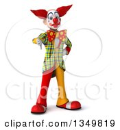 Clipart Of A 3d Funky Clown Giving A Thumb Down Royalty Free Illustration