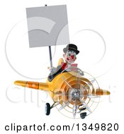 Clipart Of A 3d White And Black Clown Aviator Pilot Holding A Blank Sign And Flying A Yellow Airplane Royalty Free Illustration
