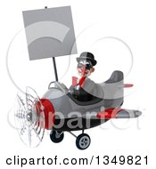 Clipart Of A 3d White And Black Clown Aviator Pilot Wearing Sunglasses Holding A Blank Sign And Flying A Yellow Airplane To The Left Royalty Free Illustration