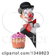 Clipart Of A 3d White And Black Clown Holding A Cupcake Around A Sign Royalty Free Illustration