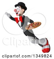 Clipart Of A 3d White And Black Clown Holding A Pizza And Flying Royalty Free Illustration