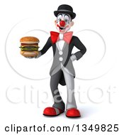 Clipart Of A 3d White And Black Clown Holding A Double Cheeseburger Royalty Free Illustration