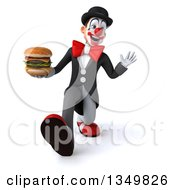 Clipart Of A 3d White And Black Clown Holding A Double Cheeseburger Speed Walking And Waving Royalty Free Illustration