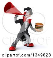 Clipart Of A 3d White And Black Clown Holding A Double Cheeseburger And Using A Megaphone Royalty Free Illustration