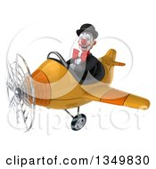 Clipart Of A 3d White And Black Clown Aviator Pilot Flying A Yellow Airplane To The Left Royalty Free Illustration