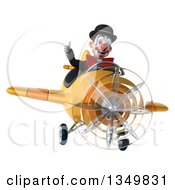 Clipart Of A 3d White And Black Clown Aviator Pilot Giving A Thumb Up And Flying A Yellow Airplane Royalty Free Illustration