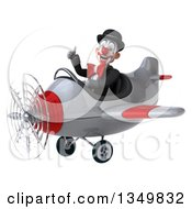 Clipart Of A 3d White And Black Clown Aviator Pilot Giving A Thumb Up And Flying A White And Red Airplane To The Left Royalty Free Illustration